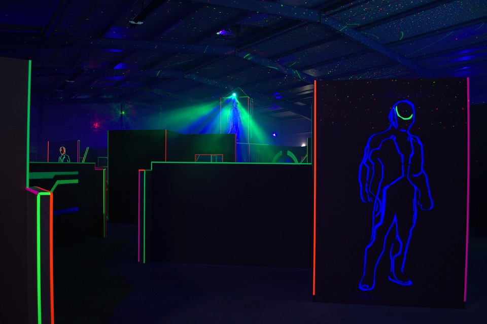 dark laser tag arena