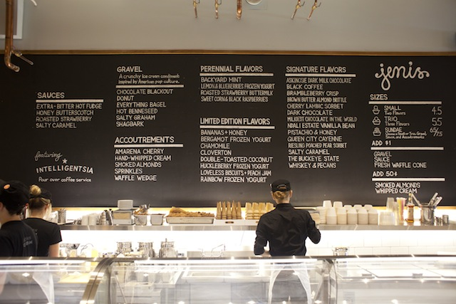 jeni's ice cream black menu board