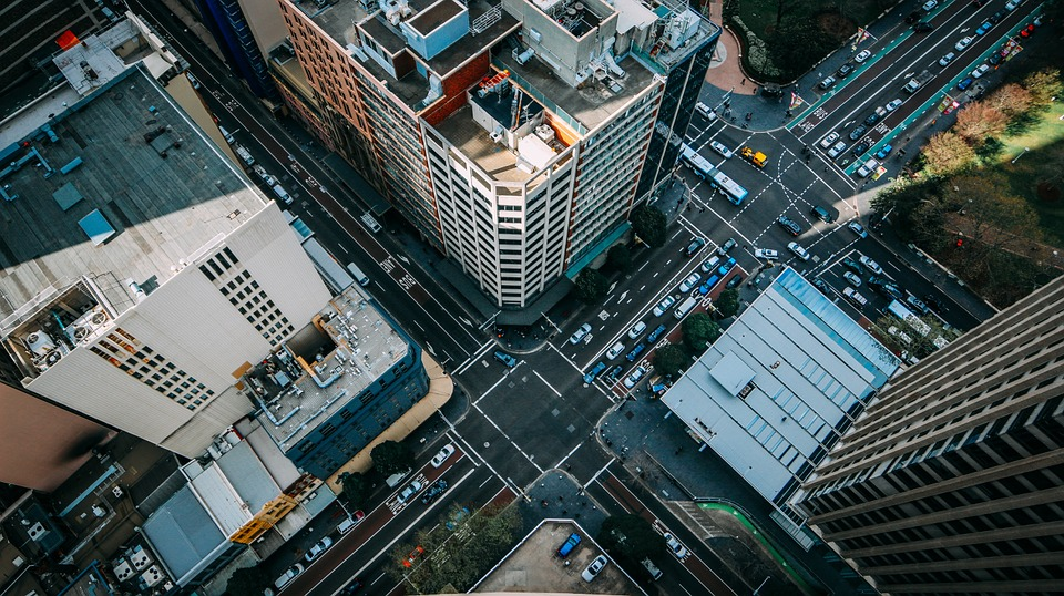 bird's-eye view of a city intersection