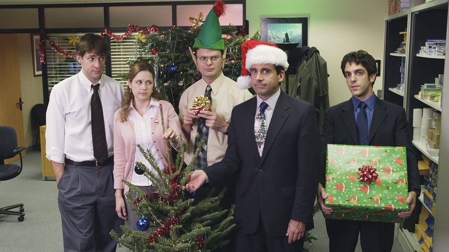 still from the office showing an office christmas party