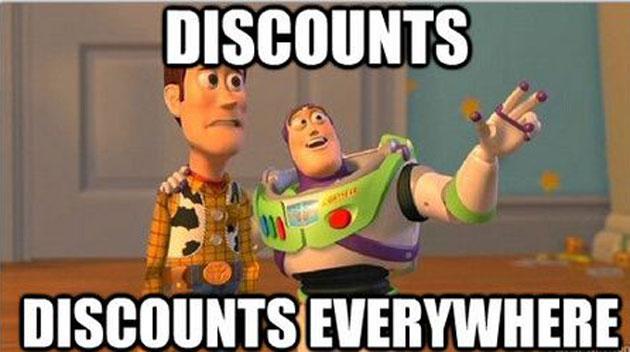 discounts, discounts everywhere meme