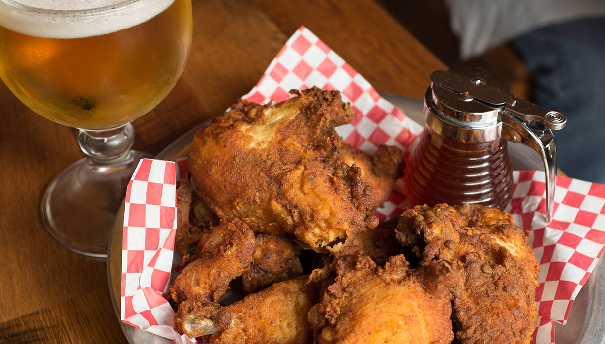 wings & beer at the Eagle Food & Beer Hall