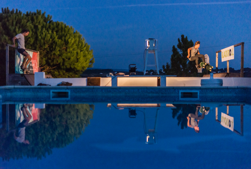 pool and skate ramp at night