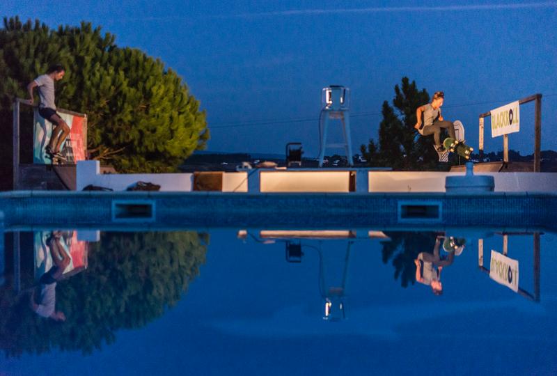 pool and skate ramp at night
