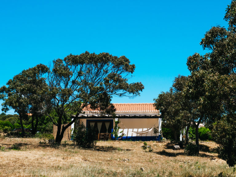 typical portuguese farm house from outside