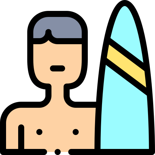 surfer with surfboard icon