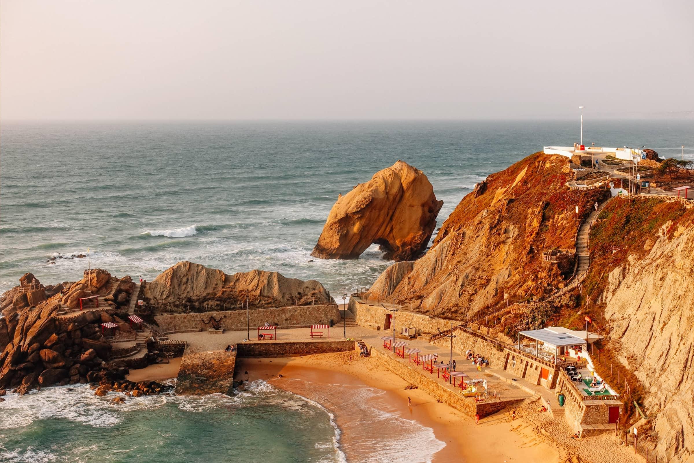the beautiful coastline of santa cruz, portugal