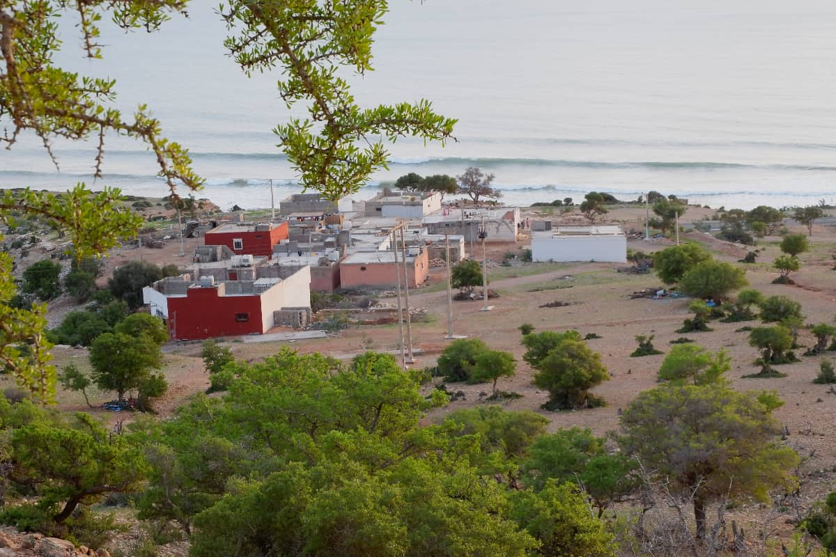 hachim's family village and the ocean, seen from above