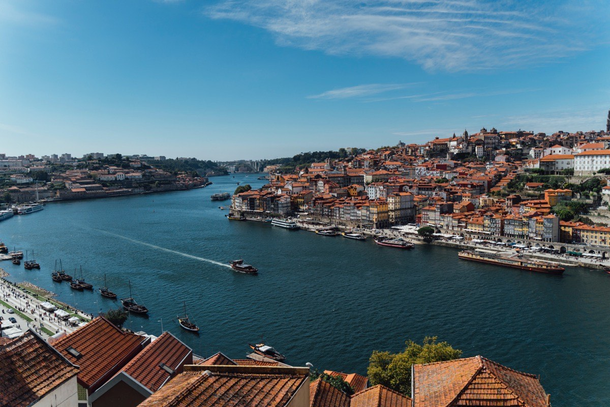 birds-eye view of the city of Porto