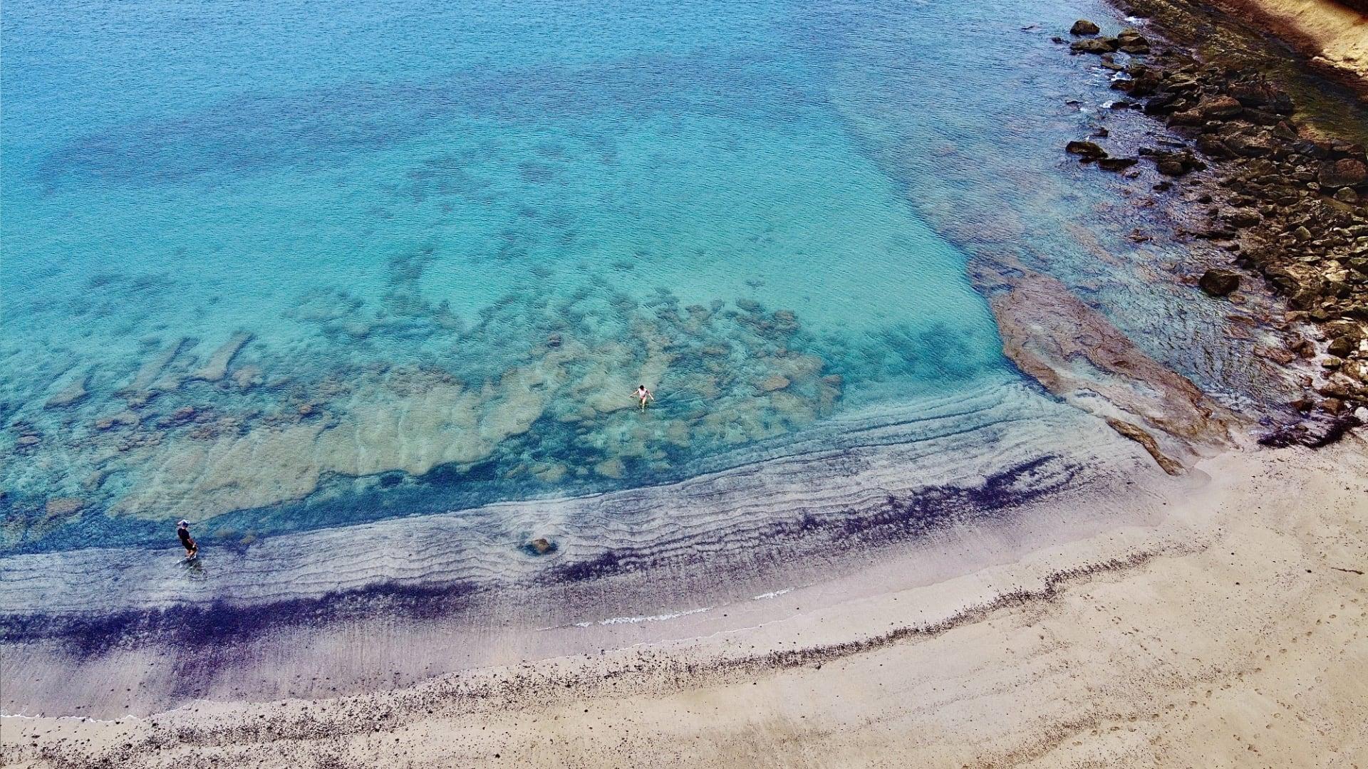 drone photo of a stunning beach in fuerteventura