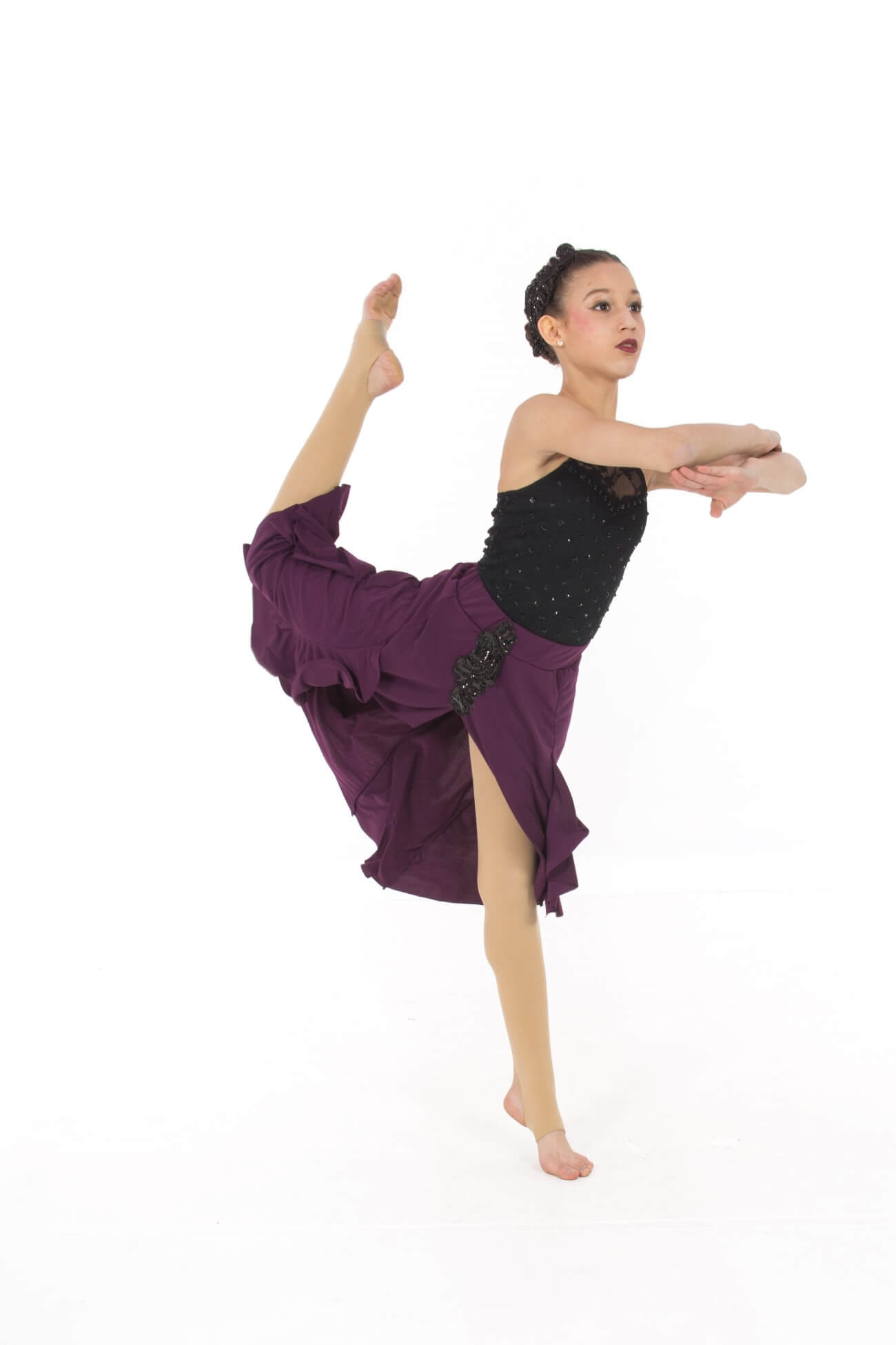 A dancer in purple