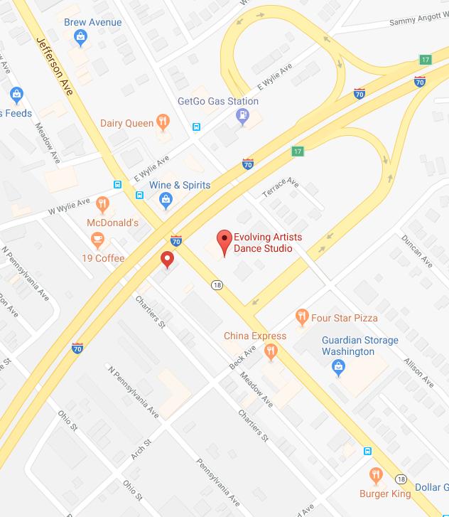 map location of evolving artists dance studio