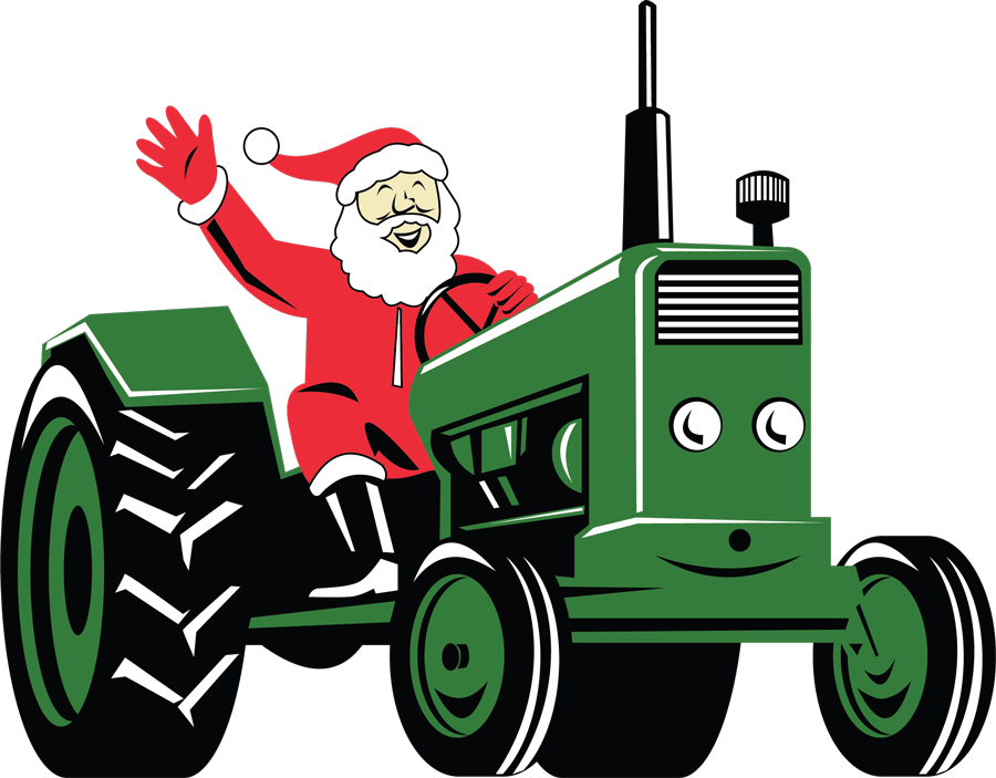 Santa riding on a green tractor