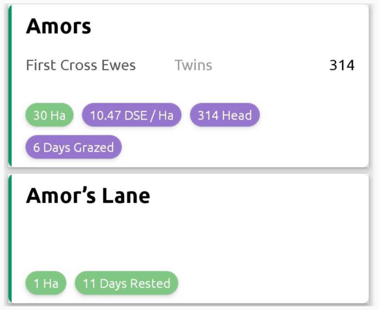 Days Grazed and Days Rested counters in the Mobble app