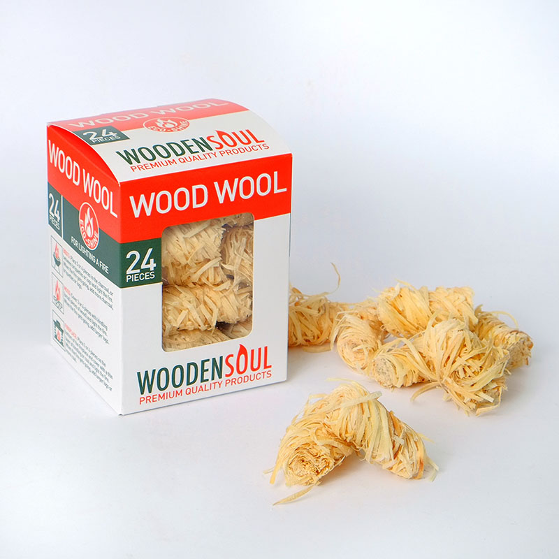 WOOD WOLL Firestarters in cardboard box