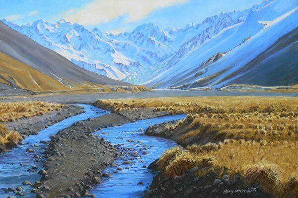 Ashburton Glacier and River Arrowsmith Range