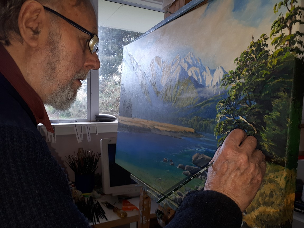 Henry Lowen-Smith working on an oil painting.