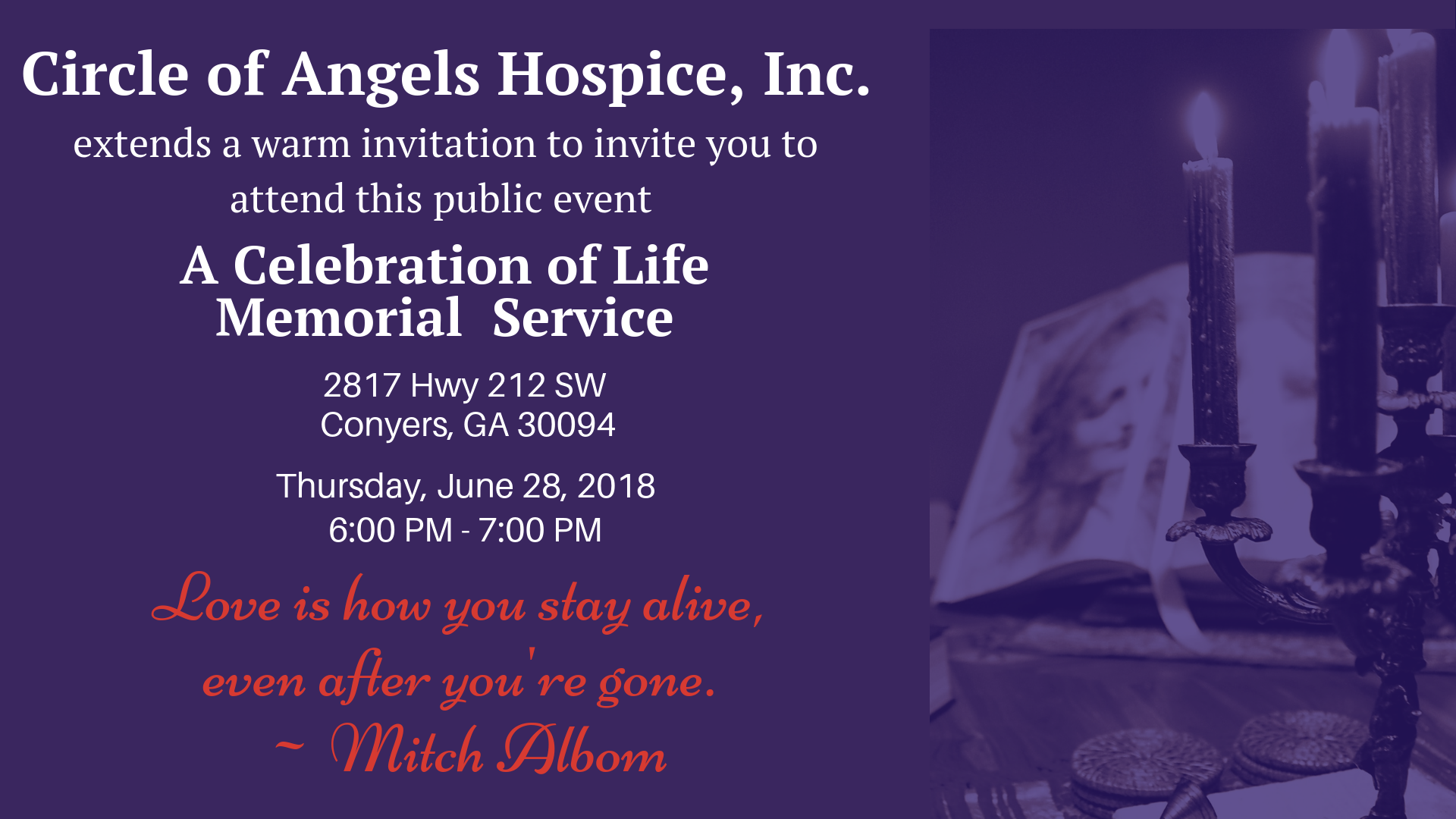 Invitation -- Celebration of Life