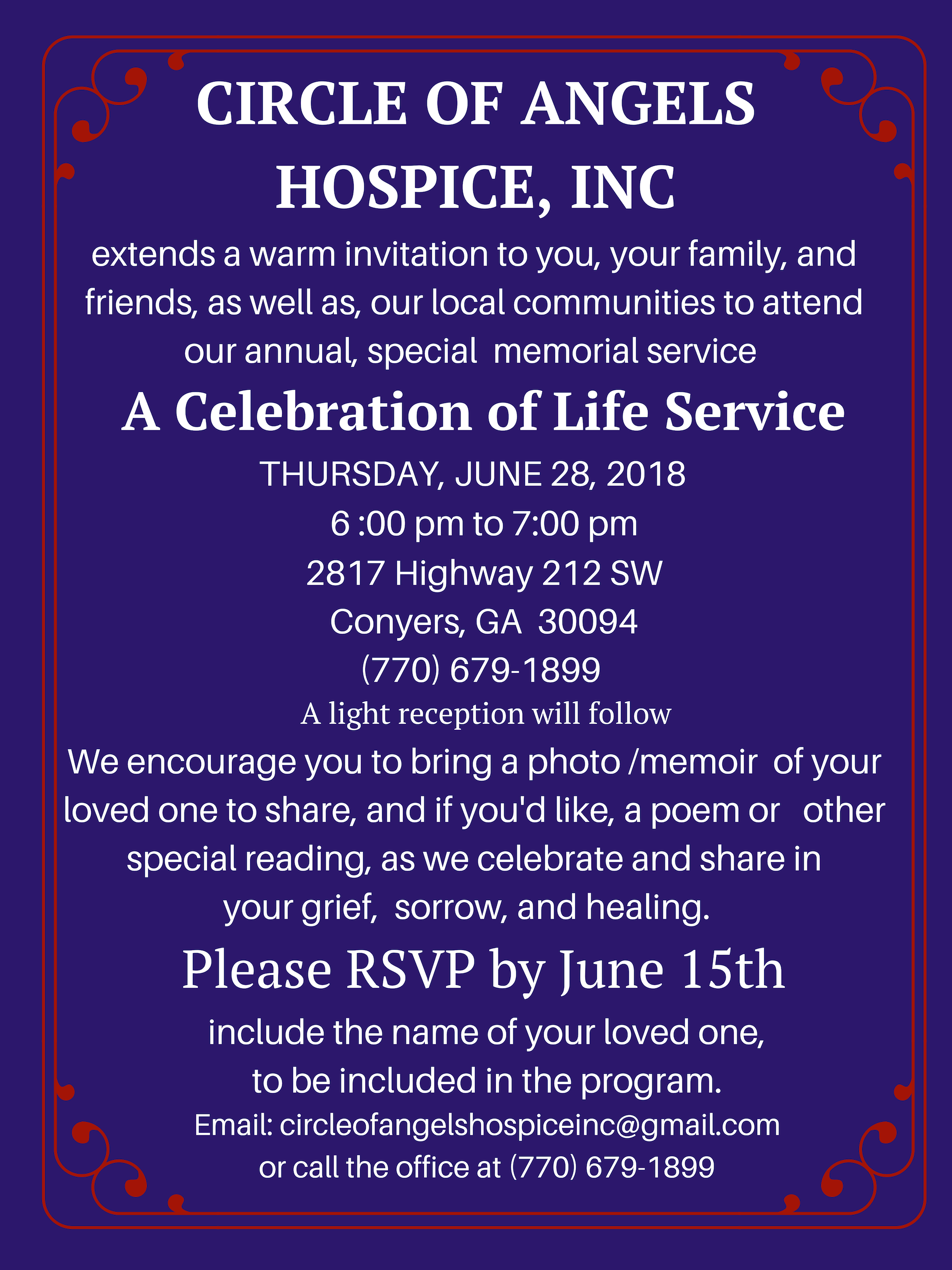 Invitation - social Media Celebration of Life