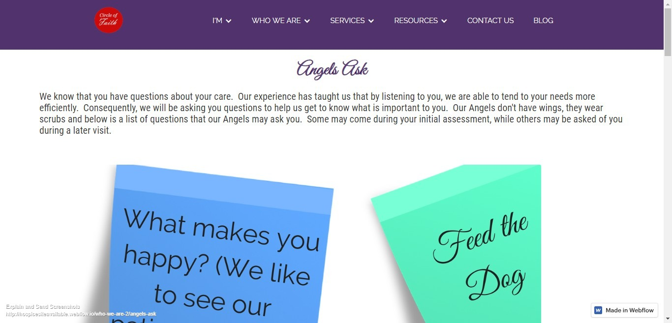 Angels Ask Webpage Design