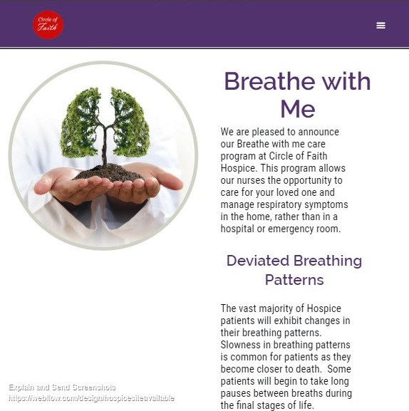 Hospice Website Design- Tablet View Breathe With Me