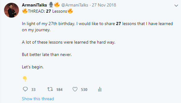 27 Lessons Twitter Thread