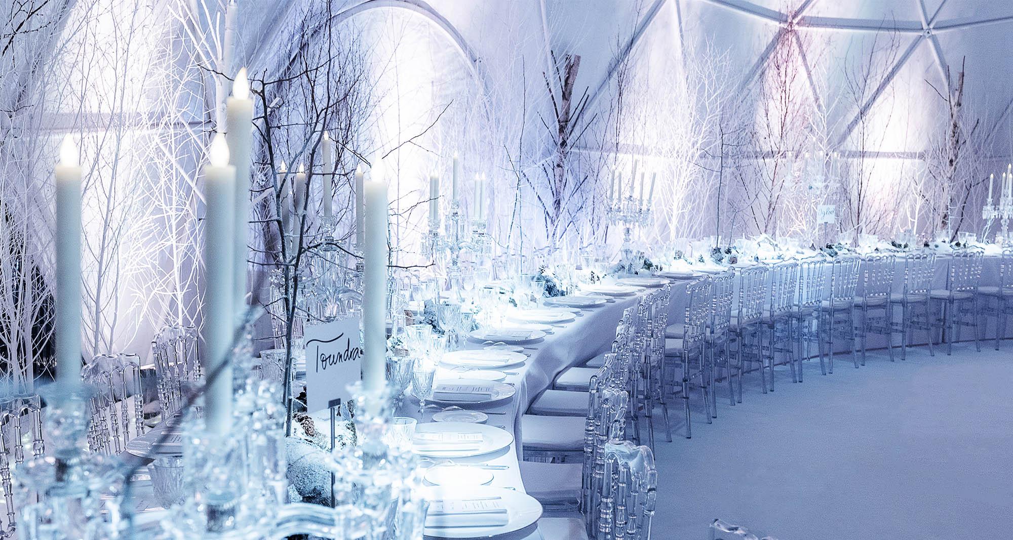 Scénographie d'hiver pour le défilé Dior à Méribel