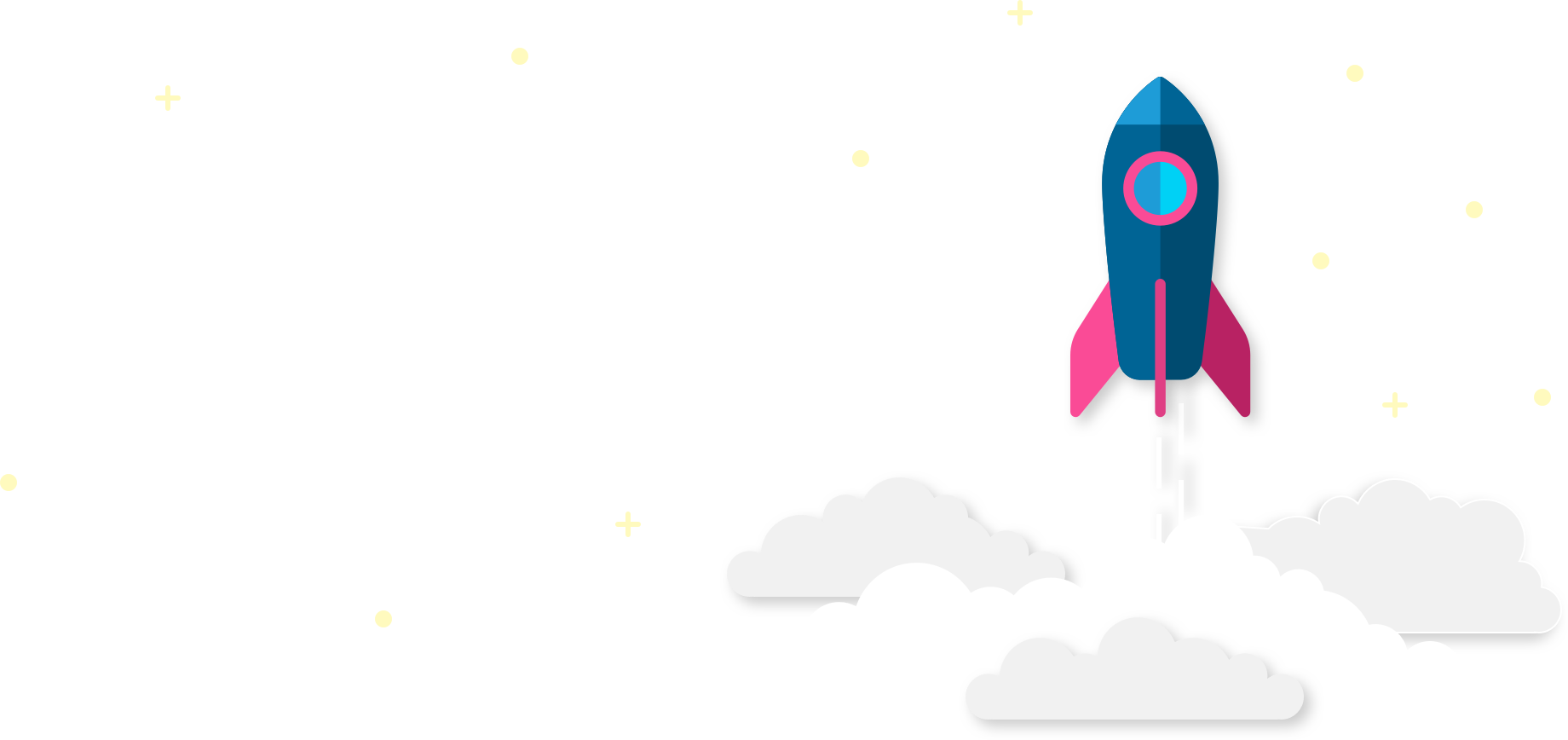 rocket into the clouds with stars