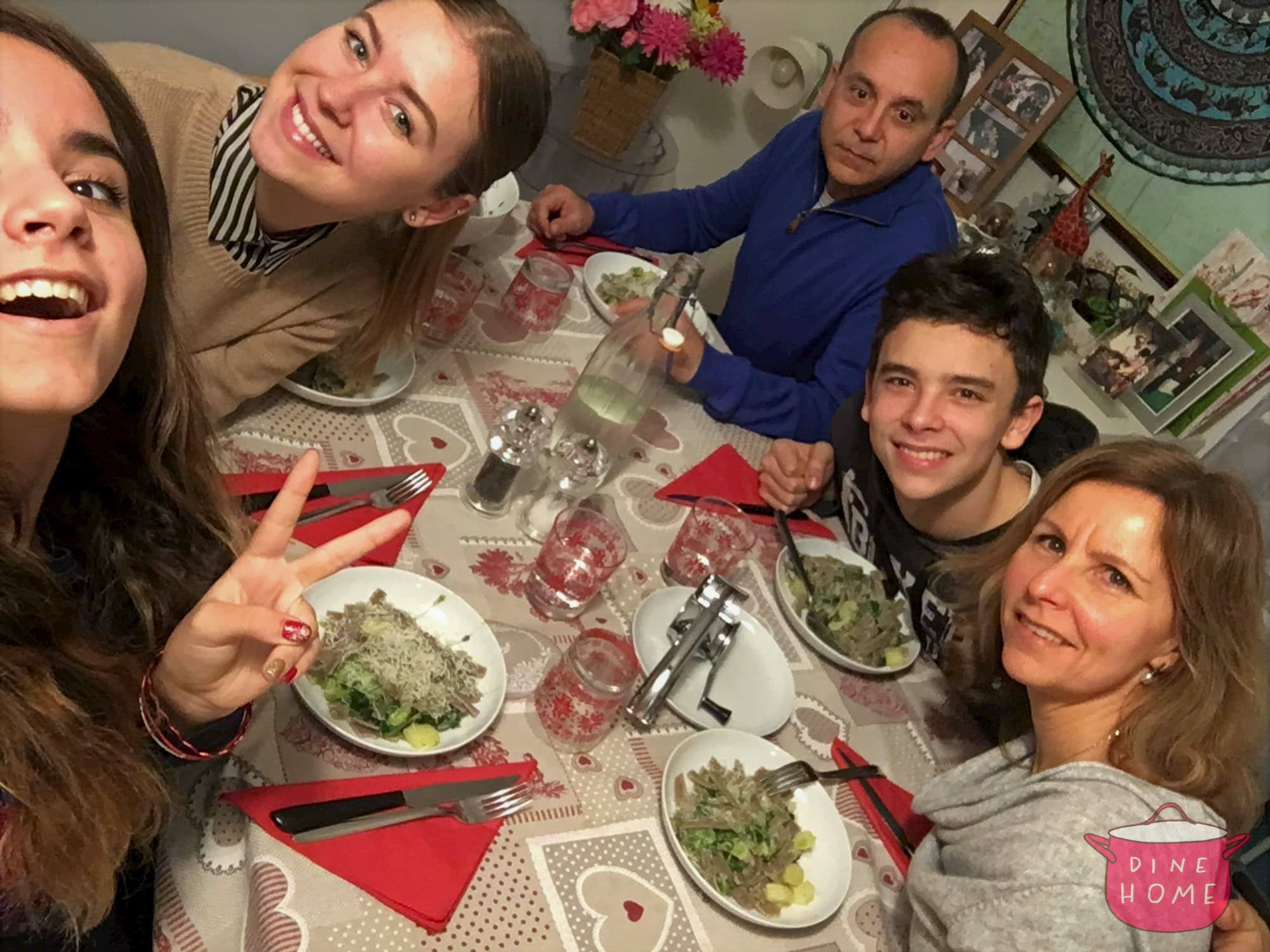 Martyna, student from Lithuania, having dinner with her Dinehome family.
