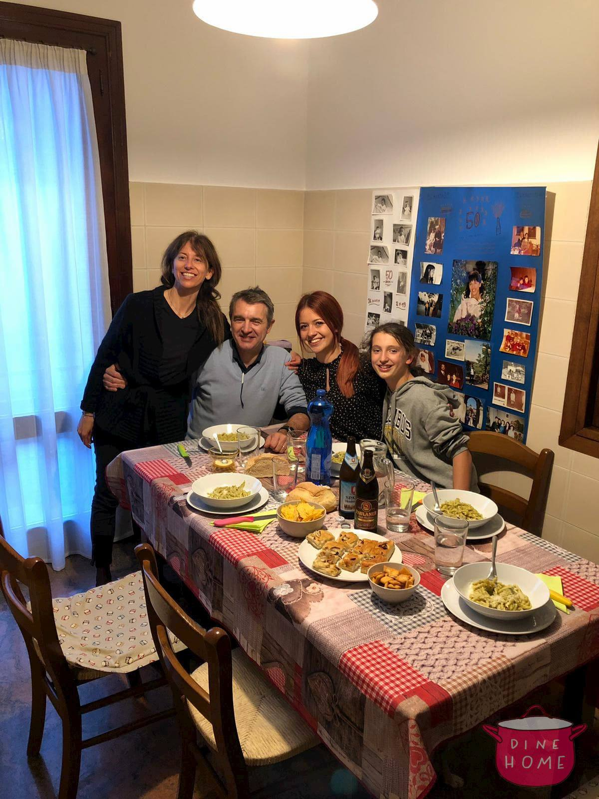 Ana Marija, a student from Croatia, over dinner with her Dinehome family.