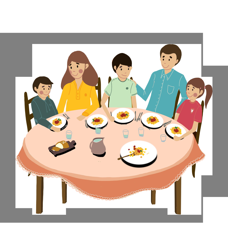 Happy host family having dinner with international student