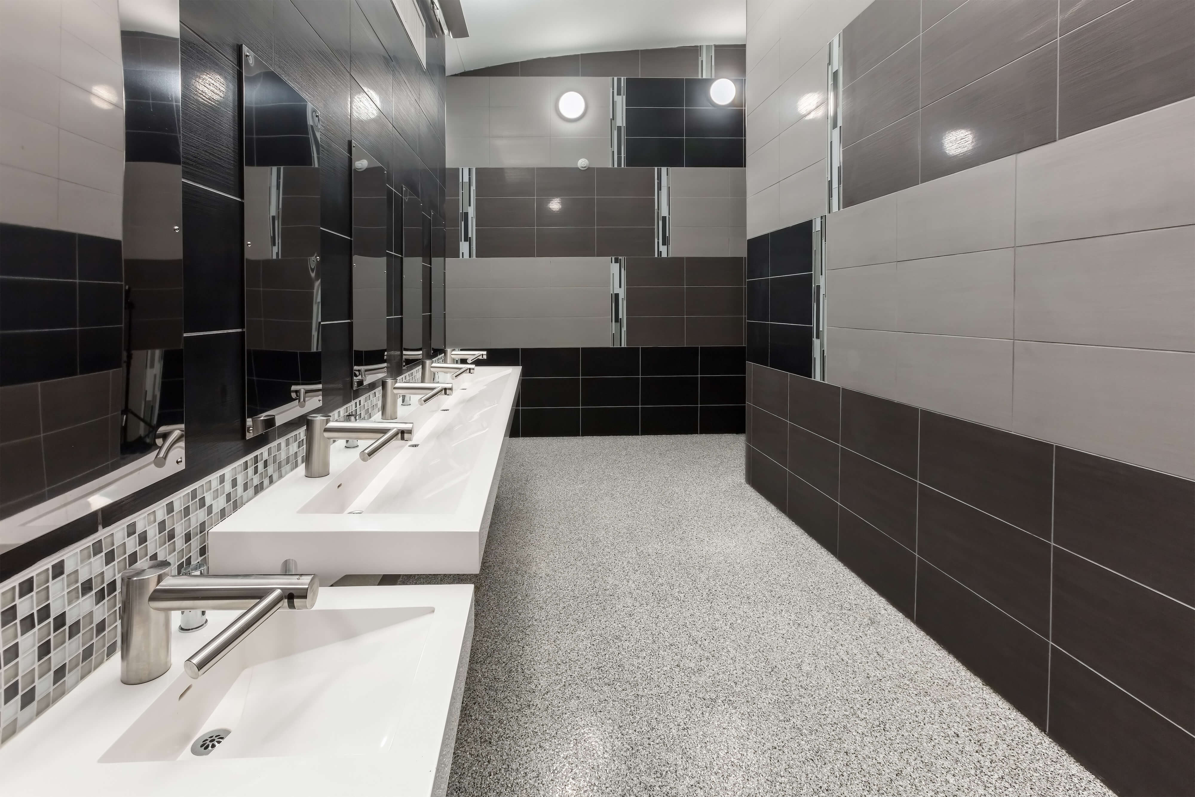 A wide-angle shot of the Tennessee Aquarium restroom renovation completed by David Barlew