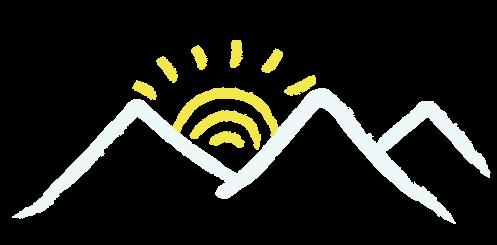 Detalle logo, sol y montañas