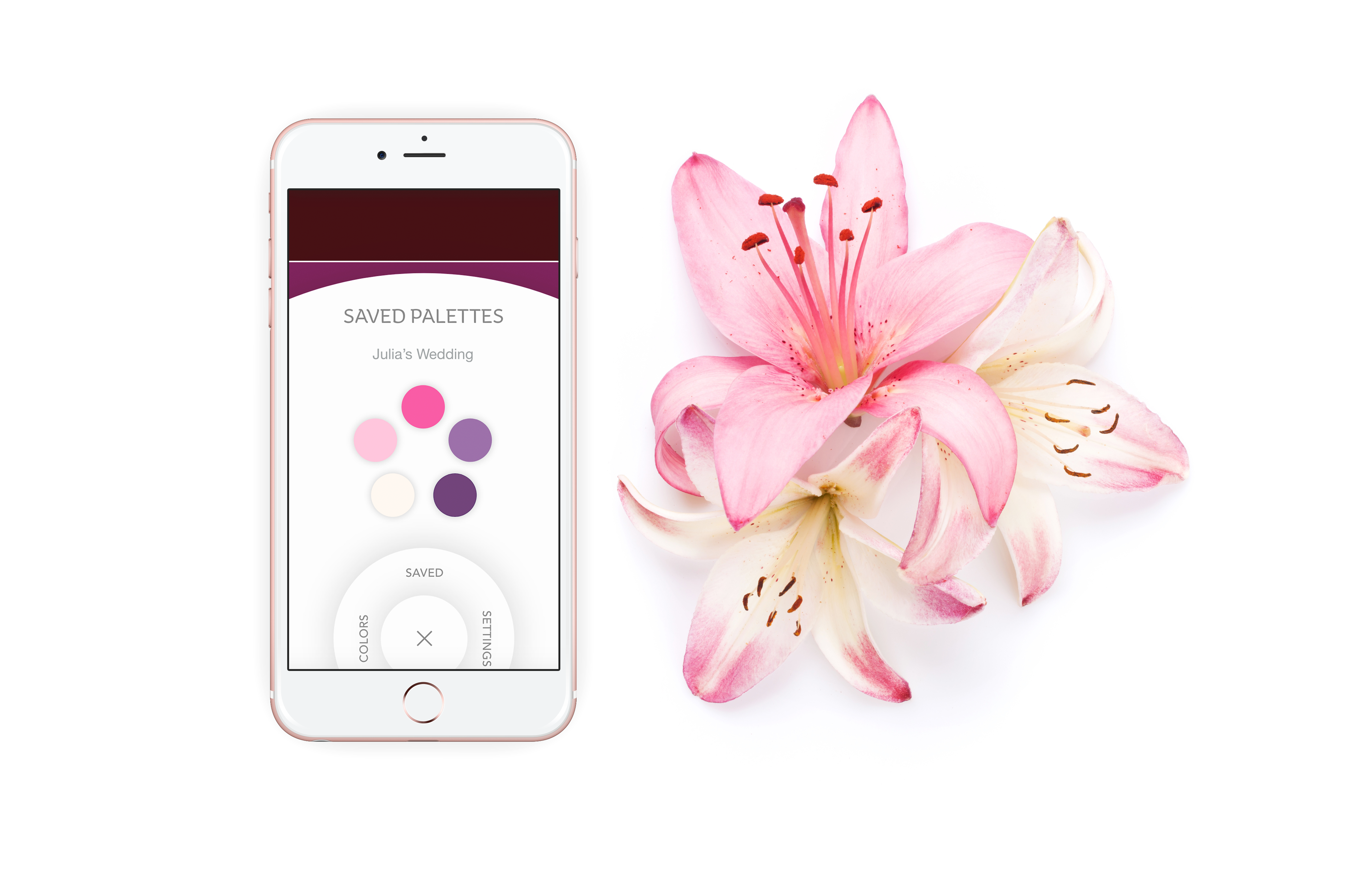 An iPhone displaying the Saved Palttes Menu. It shows a pink floral colour palette for Julia's wedding. Beside the phone is Julia's bridal bouquet which has the same colours.