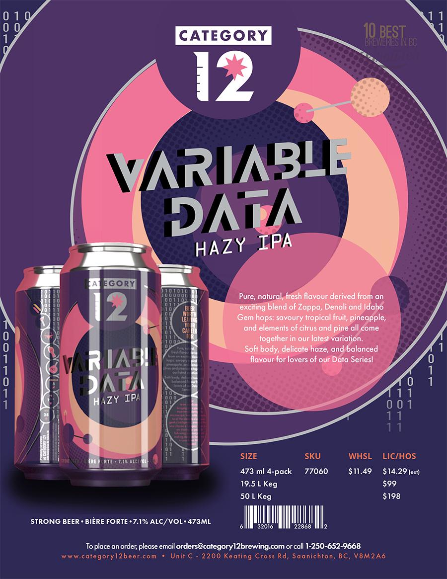 Variable Data Hazy IPA sell sheet poster.