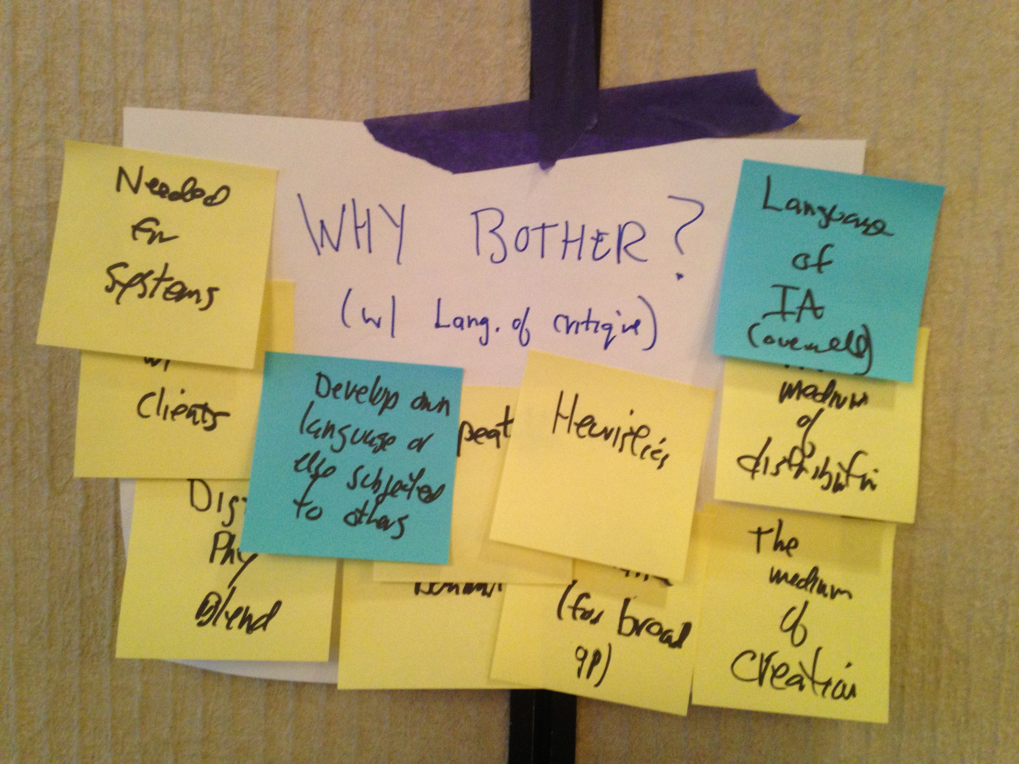 "Photo of Post-it notes answering the question, ""Why bother with a language of critique?"""