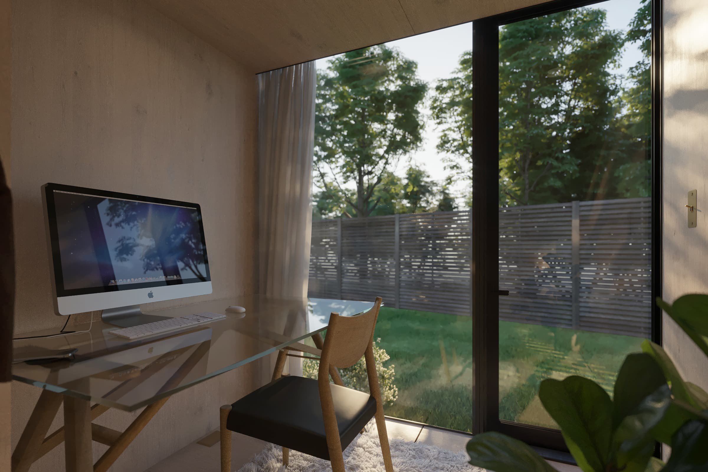 The interior of a backyard office with wood finishes