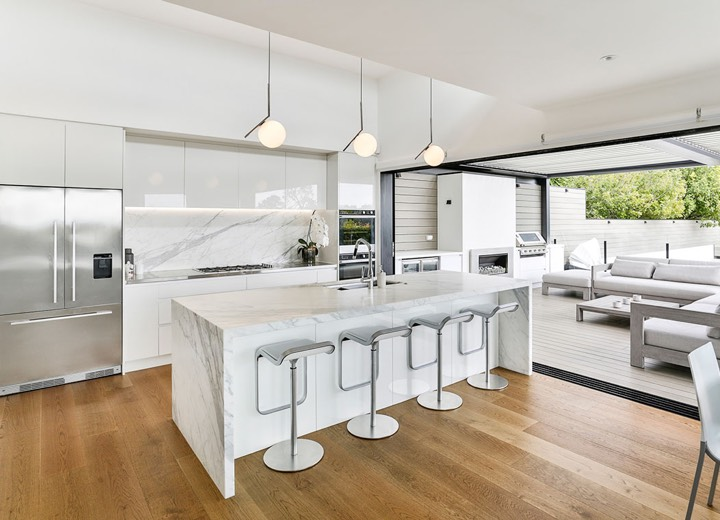 Modern white kitchen with marble