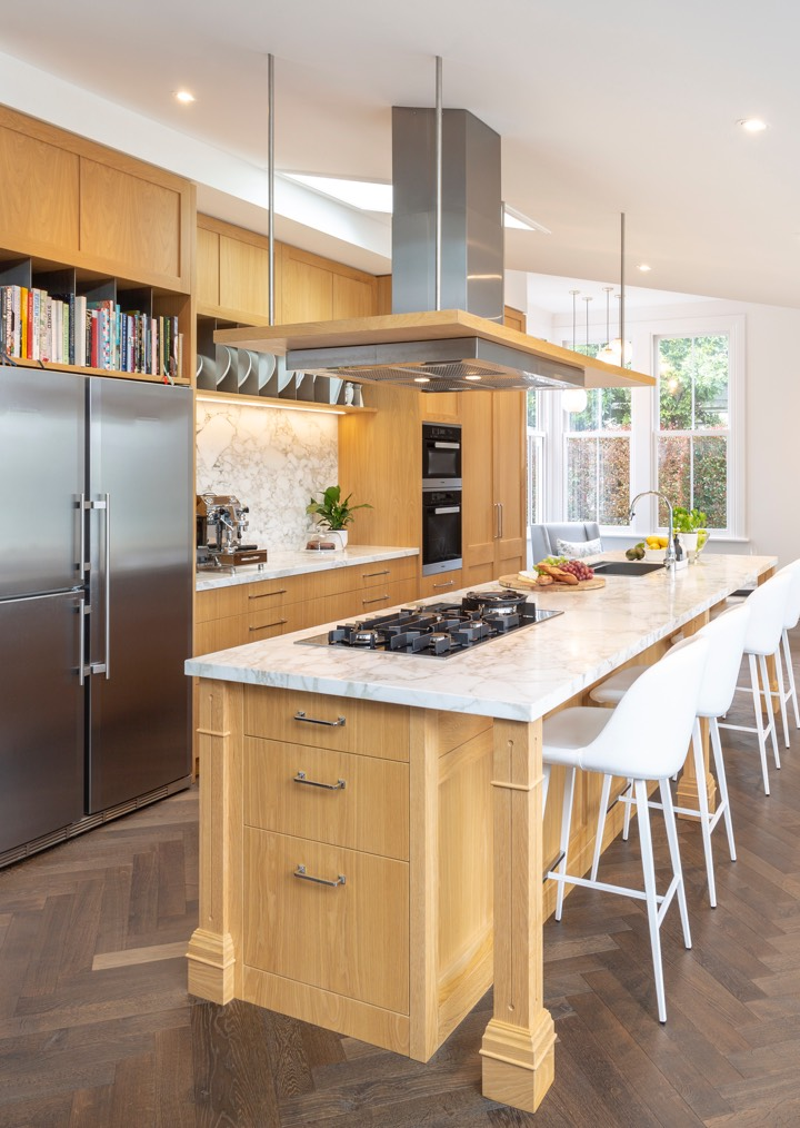 Wooden kitchen with marble top