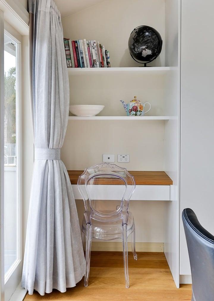 Corner desk cabinetry