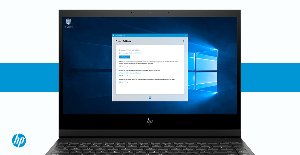 HP Privacy Settings on Windows 10 on an HP Laptop.