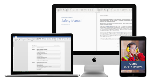 safety manual image on a laptop desktop and tablet device