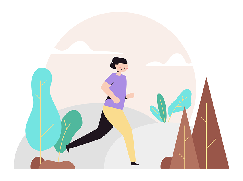 running woman in nature