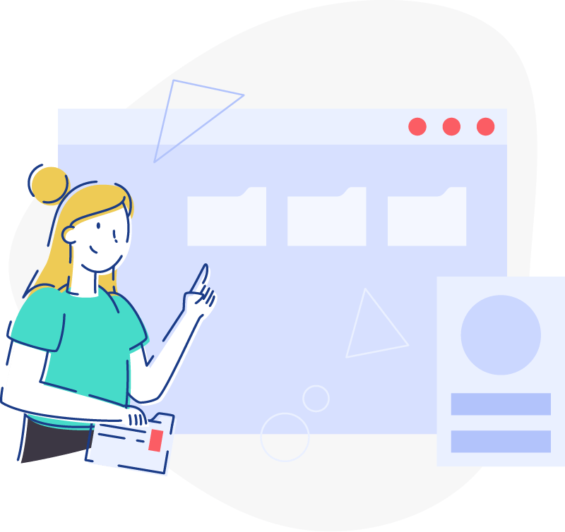 illustration of a woman pointing at a UI