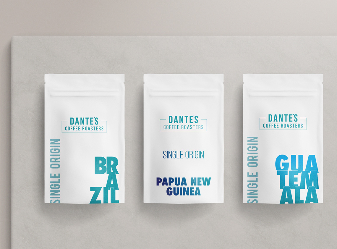 White packaging for Dantes Coffee Roasters