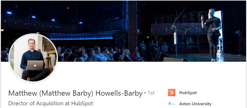 Linkedin profile of Matthew Barby, Director of Acquisition at Hubspot