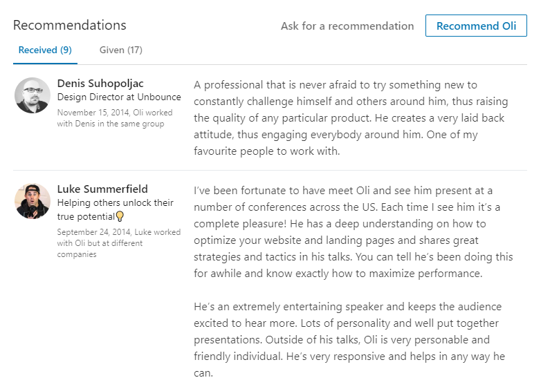 Authentic Linkedin recommendations and endorsements
