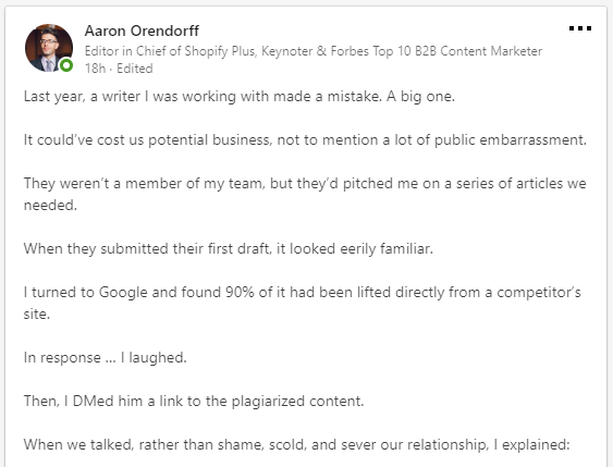 One of many examples of engaging Linkedin posts from Aaron Orendorff's