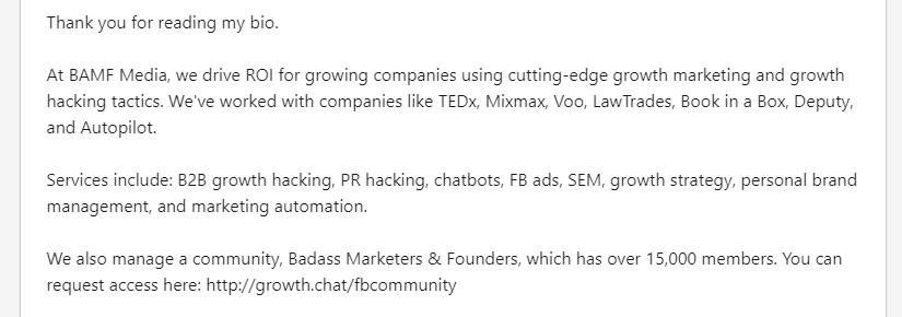 Josh Fechter's Linkedin bio