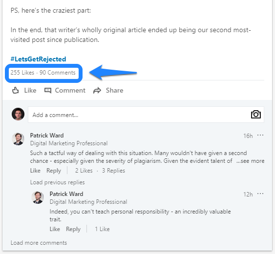 Linkedin posts that add value result in higher post engagements